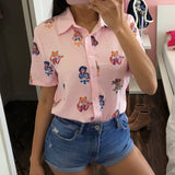 Gaganight Free shipping Summer Cute Sailor Moon Blouse Women Short Sleeve Anime Cosplay Shirt Turn-down Collar Top