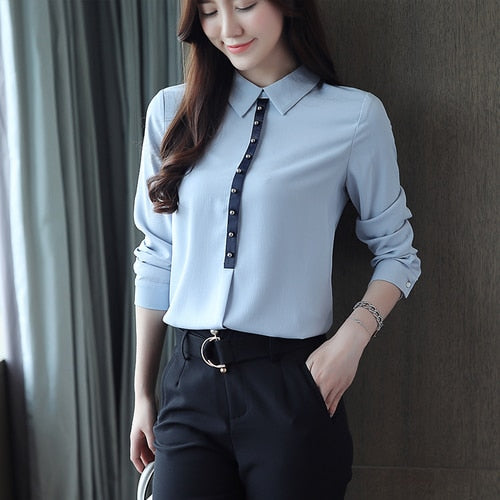 Fall chiffon women shirts beads women's long sleeve office lady women's tops and blouses OL blue women blouses blusa 1557 45