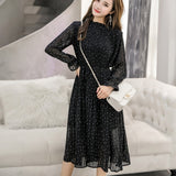 Women chiffon dress spring autumn female elegant vintage long sleeve dot pleated dress office lady casual loose dresses