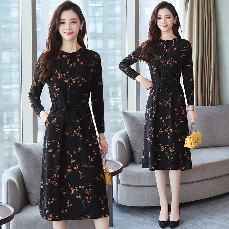 Autumn Winter New Black Floral Vintage Dress Plus Size Midi Dresses Korean Elegant Women Party Long Sleeve Bodycon Vestidos