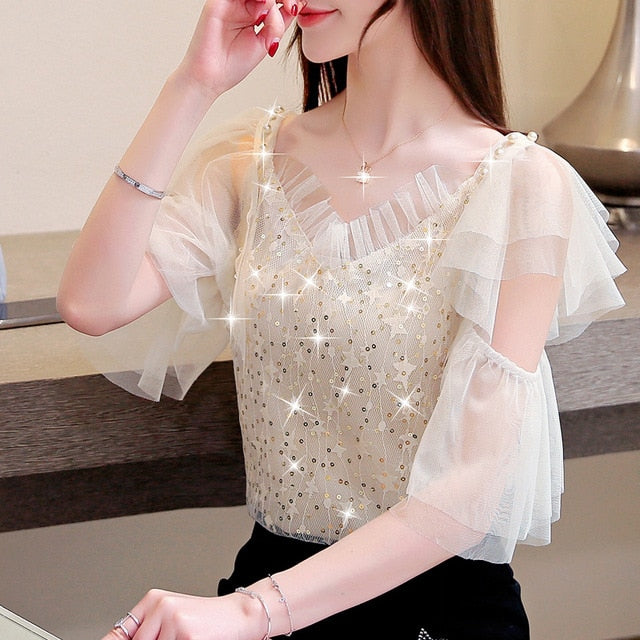 Short sleeve Sequin Mesh lace blouse Women's shirt summer blouses  women off shoulder top women's tops and blouses