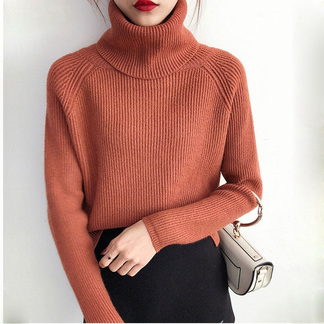 Turtle-neck Knitted Fashion Pullover Ladies  Warm Sweater Pull Tops Winter Loose Causal Pullovers Sweaters Jumper