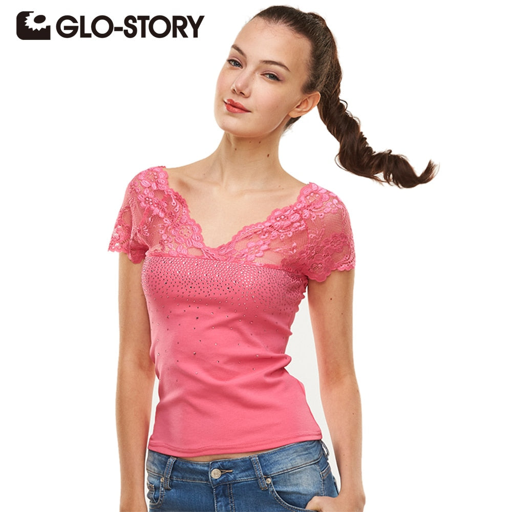 GLO-STORY 2019 High Quality V-Neck Solid T-Shirt Women Cotton Elastic Lace T shirts Female Sexy Casual Tops Short Sleeve Tees