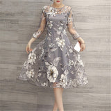 Mesh Summer Women Casual Elegant  High Waist A-line Dress Three Quarter Sleeve Vintage Party O Neck Floral Print Dresses