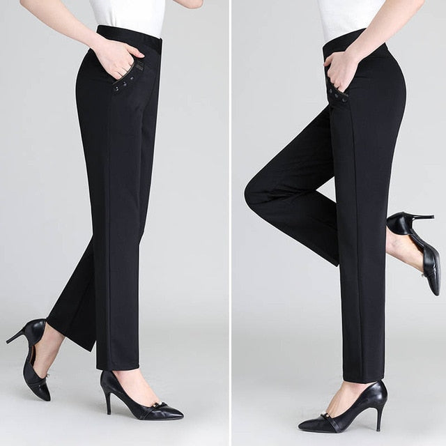 Women High Waist Casual Pants Summer Autumn Elasticity Straight Pants Slim Trousers Female Khaki Black Plus Size XL-5XL