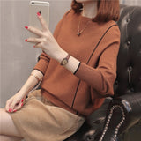 Women Loose Knitted Sweater Pullover Black Fashion Pull Ladies Pullovers Tops Knitwear Fall Pullover Luxury Female Pull