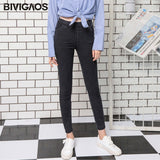 BIVIGAOS Free shipping Spring Autumn Large Basic Style Sand Wash Jeans Leggings Women Elastic Snowflake Denim Pencil Pants Plus Size Jeggings