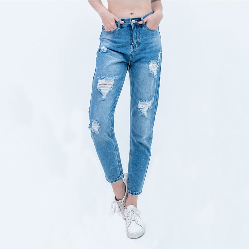 Luckinyoyo jeans ladies free shipping ripped jeans for woman woman mom jeans pants boyfriend jeans women with high waist push up large size