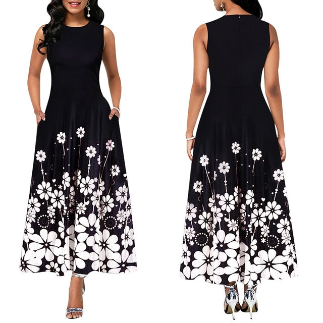Maxi Elegant Party Dress Women Sleeveless Floral Ankle-Length Female Black Summer Ladies Dress A-line Long Dress robe femme D25
