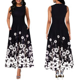 Maxi Elegant Party Dress Women Sleeveless Floral Ankle-Length Female Black Summer Ladies Dress A-line Long Dress robe