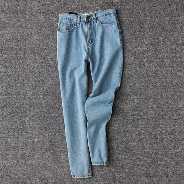 Korean style women pencil denim pants high waist jeans woman casual vintage jeans boyfriend mom jeans light blue streetwear
