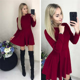 Casual Long Sleeve Dress Women O Neck A Line Short Mini Dresses Autumn Winter Basic Solid Party Dress Femme Vestidos Black Red