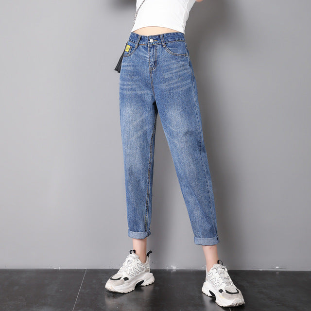 ZSRS Free shipping jeans woman mom jeans pants boyfriend jeans for women with high waist push up large size ladies jeans denim 4xl