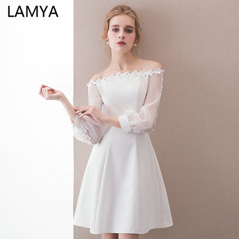 LAMYA Free shipping Full Appliques Prom Dresses Short Satin A Line Evening Patry Dress Customized Boat Neck Formal Gown For Women