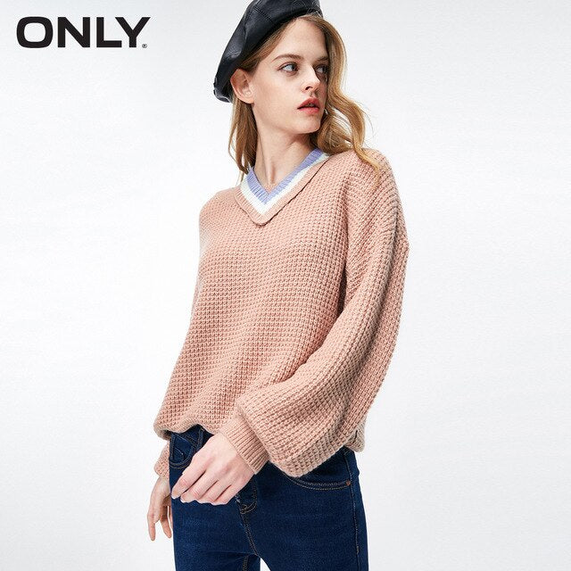 ONLY Free shipping Autumn Winter Simple Removable Neck Loose Knitted women Sweater