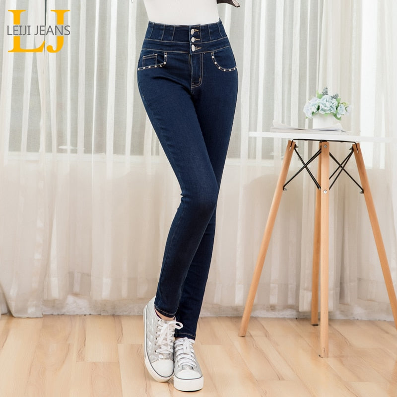 LEIJIJEANS Free shipping arrival autumn Dark blue high waist stretchy jeans with fly button fashion style plus size 5XL 6XL women jeans