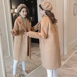 Women Winter Coats Autumn and Winter Coat New Large Size Pink Wool Coat Thick Long Coat Female