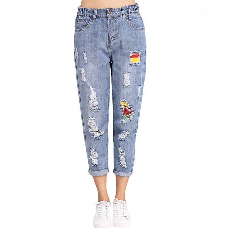 Fashion Spring Summer Large Size Hole Denim Jeans Women Mid Waist Loose Harem Jeans Woman Ripped Panelled Denim Pants