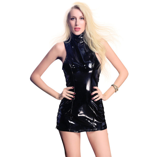 Patent leather light Stand collar Lateral forking Bandage plus size sexy lingerie latex dress pvc dress clubwear leather dress