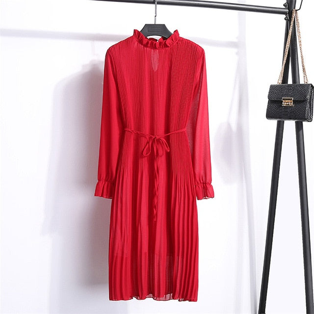 Women Two layers chiffon pleated dress spring autumn female vintage elegant long sleeve loose casual office lady dress