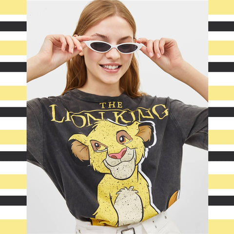 Summer Black Women T-shirts Lion King Cartoon Print Casual O-neck Cotton T Shirt Women Camisa Short Sleeve T-shirts Female