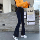 Women's Slim Flare Jeans High Waisted Free shipping Stretch Denim Female Bell Skinny  casual Long Jean Trousers