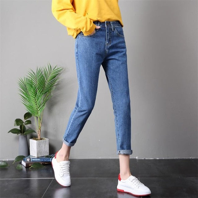 Free shipping Summer High Waist Denim Washed bleaching Pencil Mom Boyfriend Jeans For Women Plus Size Skinny Female Jeans Women 25 33 34