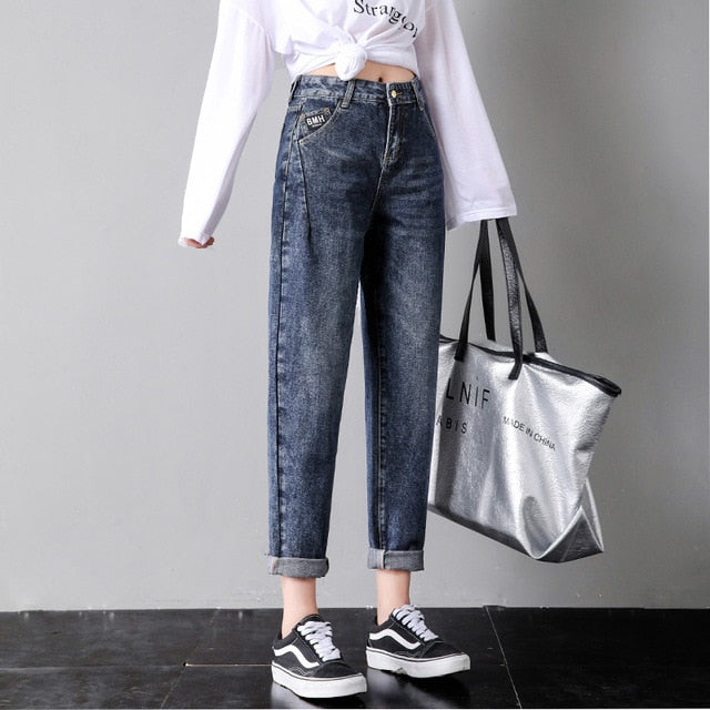 ZSRS Free shipping jeans woman mom jeans pants boyfriend jeans for women with high waist push up large size ladies jeans denim 4xl 2019