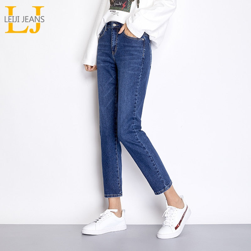 LEIJIJEANS Free shipping Autumn Blue Color 5XL 6XL Plus Size Cotton loose Denim pant Mid Waist Full Length Regular Boyfriend Jeans for Women