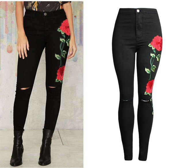 Free shipping HCYO Designer Women Cloth Black Jeans 3D Floral Embroidery Slim Pencil Pants Pure Cotton Knee Hole Female Denim Jeans Trousers