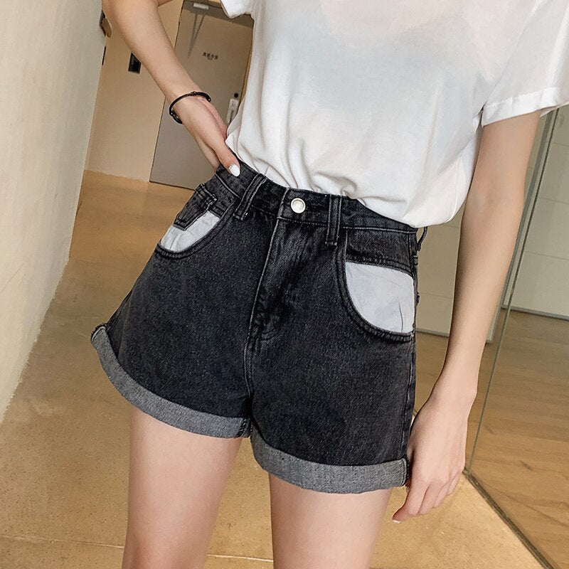GUUZYUVIZ Free shipping Casual Jeans Woman Plus Size Loose Denim Wide Leg Pants Mujer High Waist Jean Shorts Women Summer Short Feminino