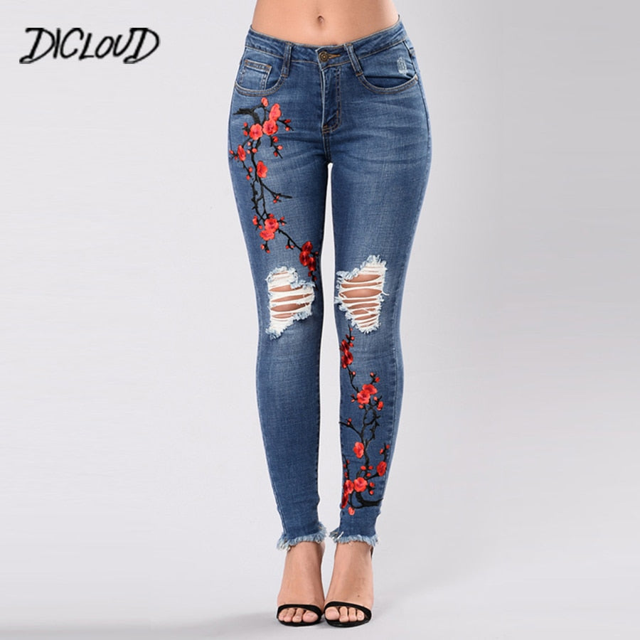 DICLOUD Free shipping Fashion embroidered jeans woman 2018 casual high waist pencil pants Woman Plus size hole Skinny Female  Denim Trousers