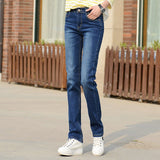 Free shipping Jeans For Women Mom Jeans Fashion Jeans Woman Stretch Jeans Female Washed Denim Mujer Skinny Straight Pants Blue Black