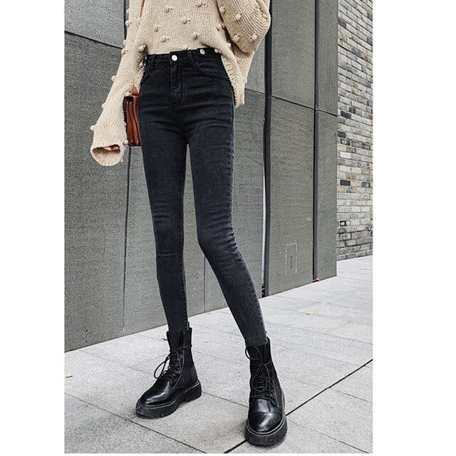 JUJULAND  Free shipping autumn high waist slim ladies jeans button fly elastic waist legging jeans plus size stretchy black women jeans 9802