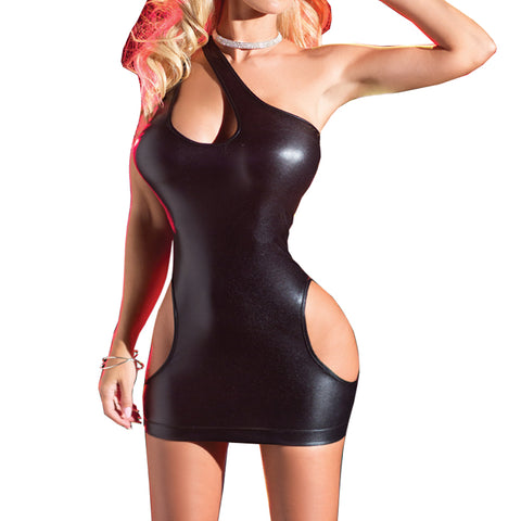 One Shoulder Leather Waist Bustier Nightwear Club Tight Lingerie Bodycon Mini Dress  Hen Party Black