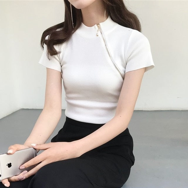 Women's Turtleneck Knitted Short Sleeve Zipper Cropped T-shirts Tops Girls Knitting Large Elastic Tees T Shirts For Women