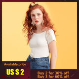 Metersbonwe Free shipping Girls Slash neck T-Shirt for Women Female Short Sleeve Summer New Thin Slim Shoulder Half Sleeve Lace