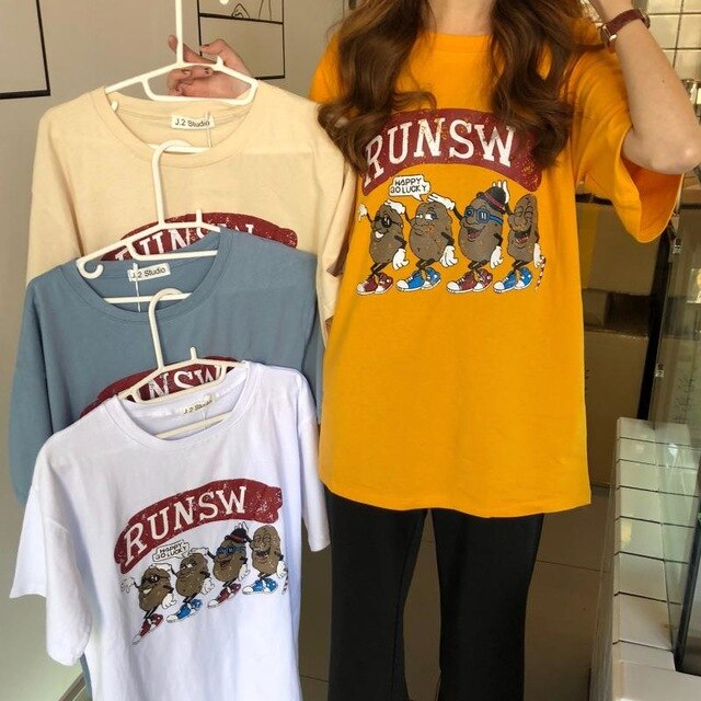 T-shirts Women Loose Leisure Retro Printed All-match Korean Style Womens Clothing Trendy Daily Students Short Sleeve Summer Chic