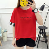 Casual Free shipping Summer Letter Print Tee Shirt Top Women's New Fashion Patchwork Cuffs Short Sleeve T-Shirt Female Harajuku Streetwear