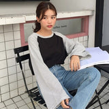 T-Shirts Women Loose All-match Leisure tops Korean Women's stripe Patchwork long Sleeve Simple Student t-shirt