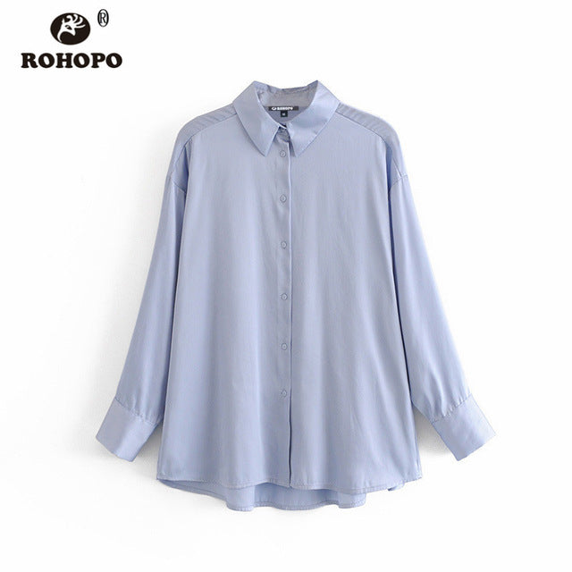 ROHOPO Free shipping Sky Blue Stain Long Sleeve Blouse Autumn Round Edge High Low Length Flared Hem Solid Ladies Top Shirt