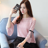 Fashion sweet summer women tops lace blouse women shirt sexy hollow lace shirt flare sleeve women's clothing blusas 0096 30