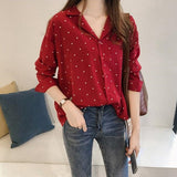 Women's Shirt Polka Dot Printed Chiffon Blouse Female Long Sleeve Shirt Korean Bottoming Shirts Top Women Clothing