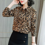 Women Long Sleeve Leopard Print Chiffon Blouse Turn Down Collar Office Lady Double Pocket Casual Shirt Spring Summer New