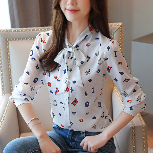 Casual Free shipping Printed tops Elegant Women Tops and Blouses Autumn Fashion Office Lady Shirts Long Sleeve Bow Women Clothing