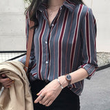 Plus size women tops striped blouse shirt fashion women's tops and blouses long sleeve women shirts clothes women blouse