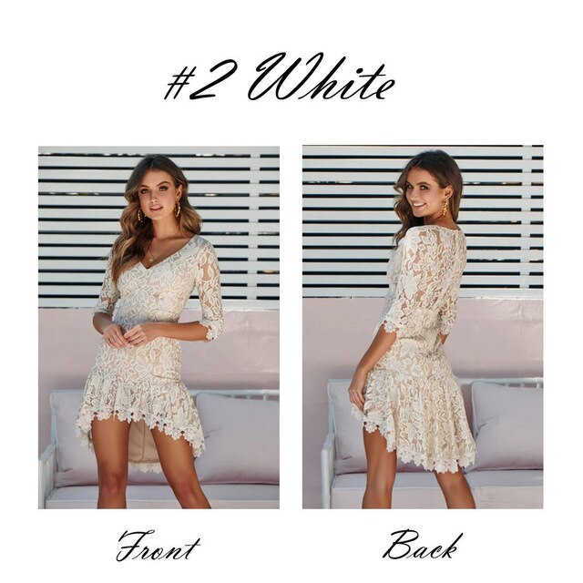 Summer New Women Bandage Bodycon Lace Dress Clubwear Half Sleeve Evening Party Short Mini Dress Fashion Streetwear Plus Size