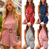 Summer jumpsuit Women Polka Dot Printing Sleeveless Playsuit Clubwear Jumpsuit With Belt Loose Playsuits plus size L404A