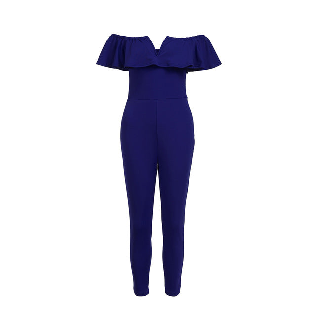 Summer Women Jumpsuit Off Shoulder Ruffle Slim Solid Romper Clubwear Trousers Plus Size