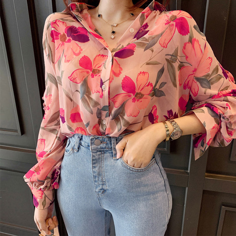 Vintage V-neck Floral Print Women Chiffon Blouse Chic Ruffles Female Shirts Blouses Long Sleeve Female Tops Shirts 2019